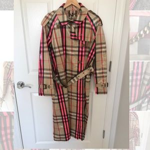 Burberry Women's Pink Laminated Check Trench Coat